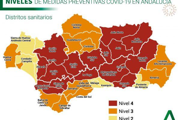 NIVELES DE ALERTA SANITARIA EN ANDALUCIA.
